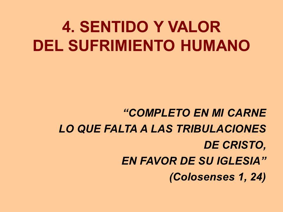 4. SENTIDO Y VALOR DEL SUFRIMIENTO HUMANO