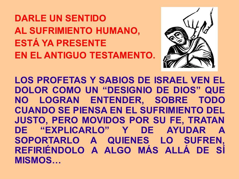 DARLE UN SENTIDOAL SUFRIMIENTO HUMANO, ESTÁ YA PRESENTE. EN EL ANTIGUO TESTAMENTO.