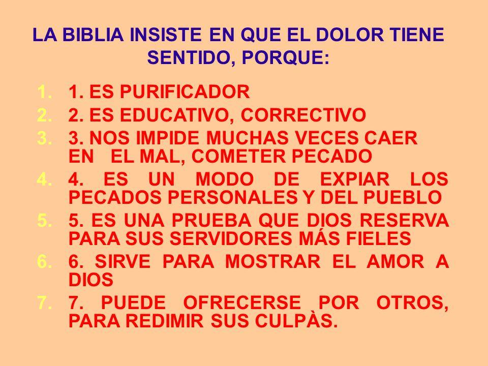 LA BIBLIA INSISTE EN QUE EL DOLOR TIENE SENTIDO, PORQUE: