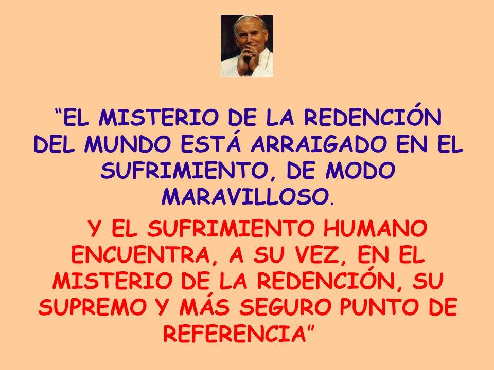 EL MISTERIO DE LA REDENCIÓN DEL MUNDO ESTÁ ARRAIGADO EN EL SUFRIMIENTO, DE MODO MARAVILLOSO.