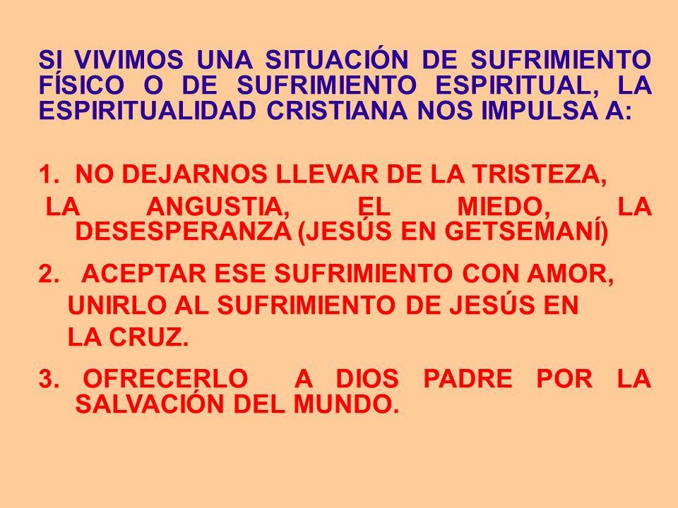 SI VIVIMOS UNA SITUACIÓN DE SUFRIMIENTO FÍSICO O DE SUFRIMIENTO ESPIRITUAL, LA ESPIRITUALIDAD CRISTIANA NOS IMPULSA A: