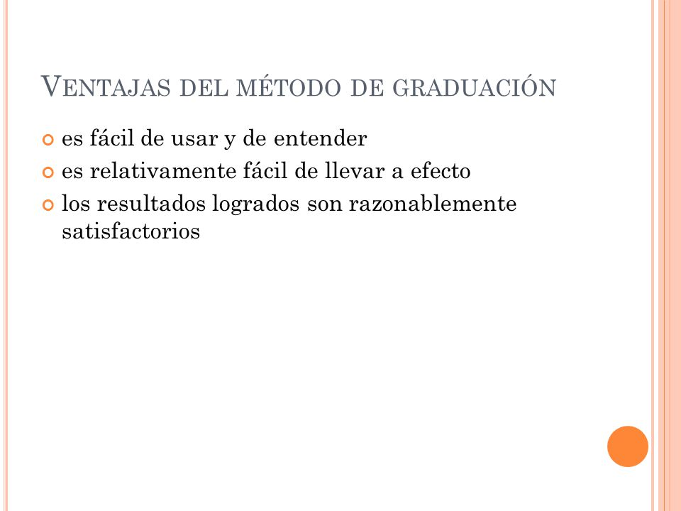 Ventajas del método de graduación