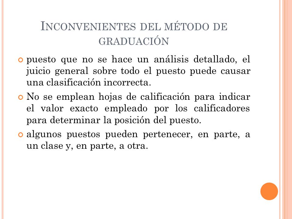 Inconvenientes del método de graduación