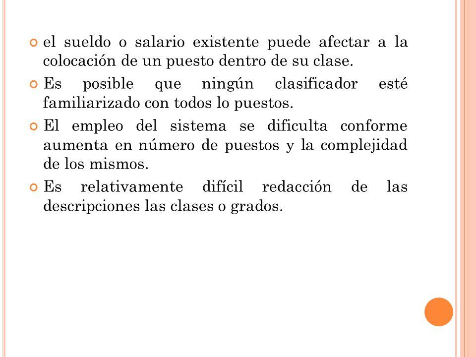 el sueldo o salario existente puede afectar a la colocación de un puesto dentro de su clase.