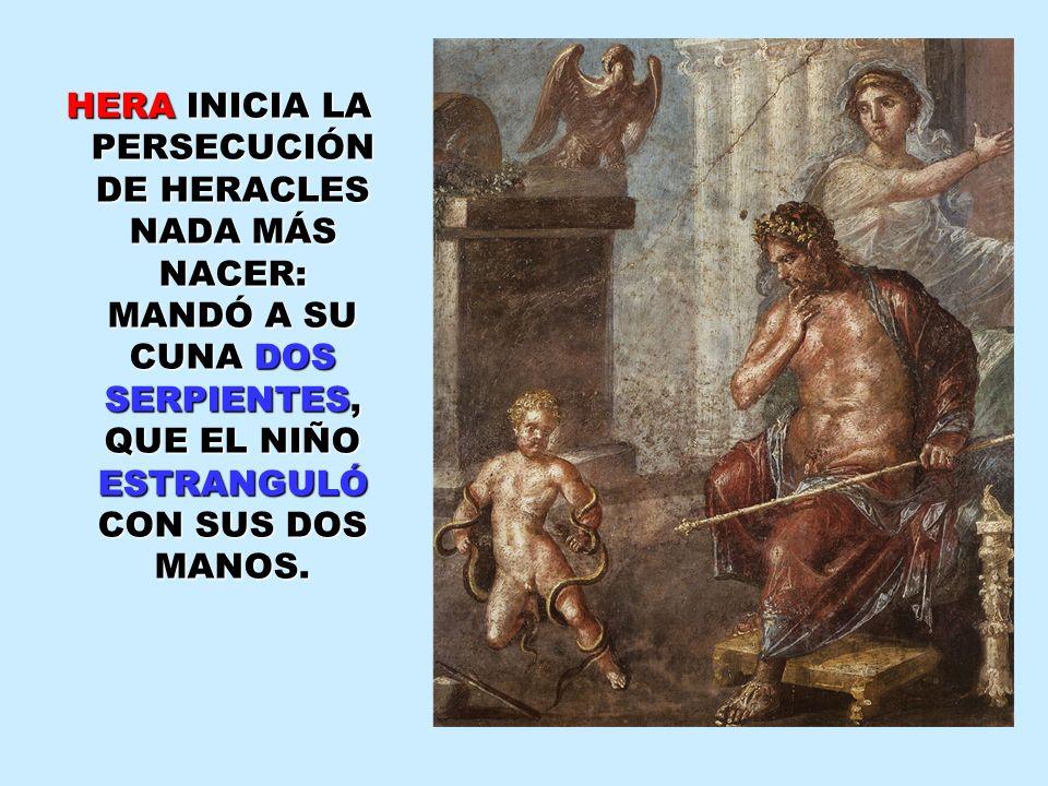 HERA INICIA LA PERSECUCIÓN DE HERACLES NADA MÁS NACER: MANDÓ A SU CUNA DOS SERPIENTES, QUE EL NIÑO ESTRANGULÓ CON SUS DOS MANOS.