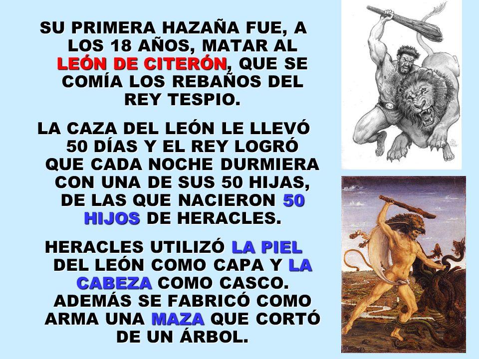SU PRIMERA HAZAÑA FUE, A LOS 18 AÑOS, MATAR AL LEÓN DE CITERÓN, QUE SE COMÍA LOS REBAÑOS DEL REY TESPIO.
