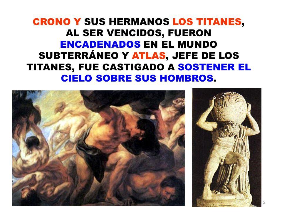 CRONO Y SUS HERMANOS LOS TITANES, AL SER VENCIDOS, FUERON ENCADENADOS EN EL MUNDO SUBTERRÁNEO Y ATLAS, JEFE DE LOS TITANES, FUE CASTIGADO A SOSTENER EL CIELO SOBRE SUS HOMBROS.
