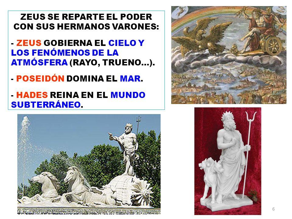ZEUS SE REPARTE EL PODER CON SUS HERMANOS VARONES: