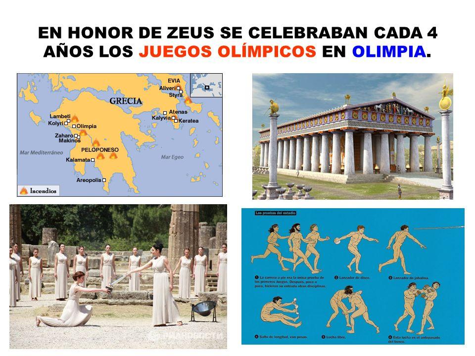 EN HONOR DE ZEUS SE CELEBRABAN CADA 4 AÑOS LOS JUEGOS OLÍMPICOS EN OLIMPIA.