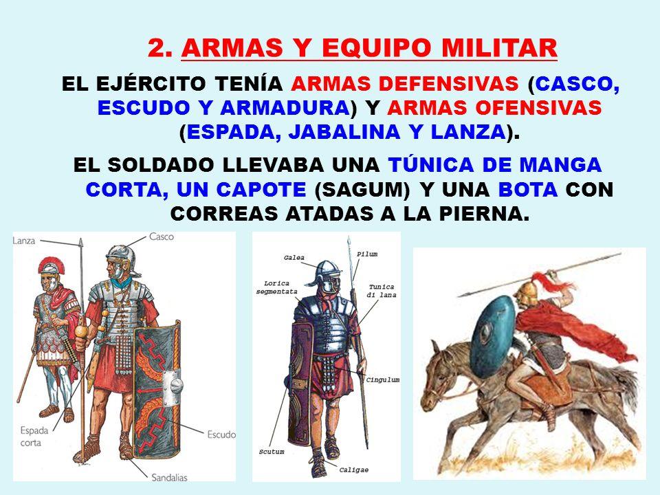 2. ARMAS Y EQUIPO MILITAREL EJÉRCITO TENÍA ARMAS DEFENSIVAS (CASCO, ESCUDO Y ARMADURA) Y ARMAS OFENSIVAS (ESPADA, JABALINA Y LANZA).