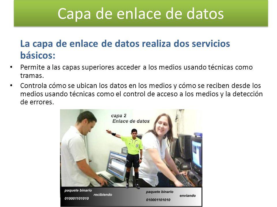 Capa de enlace de datos La capa de enlace de datos realiza dos servicios básicos: