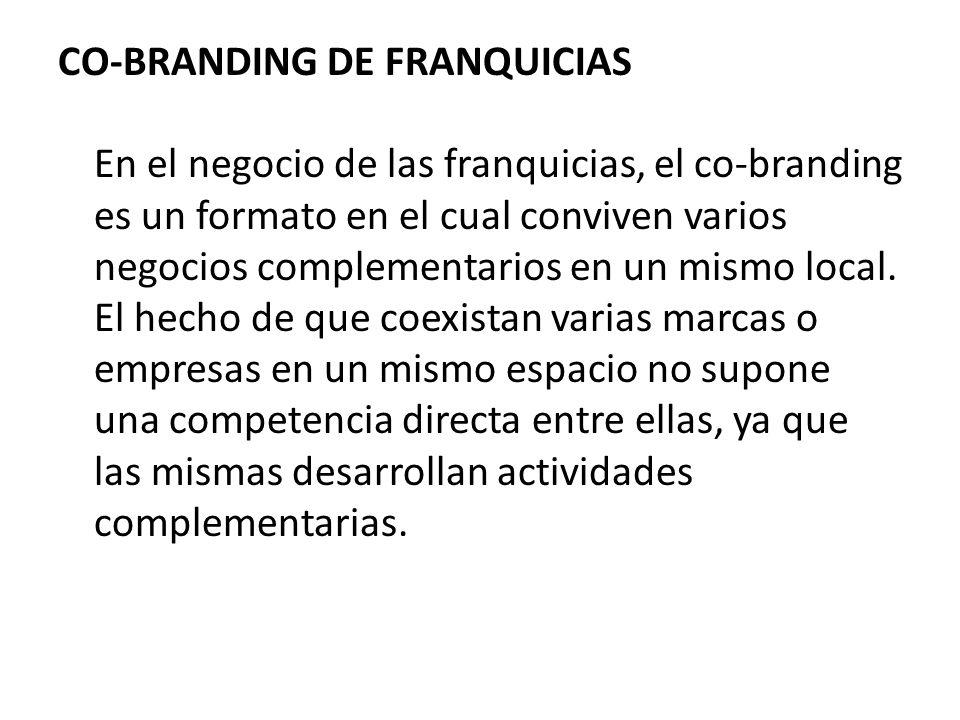 CO-BRANDING DE FRANQUICIAS En el negocio de las franquicias, el co-branding es un formato en el cual conviven varios negocios complementarios en un mismo local.