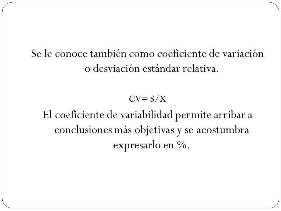 Se le conoce también como coeficiente de variación o desviación estándar relativa.