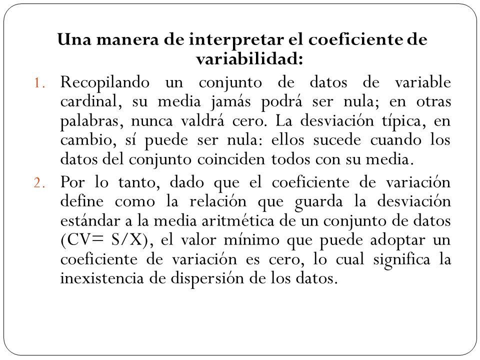 Una manera de interpretar el coeficiente de variabilidad: