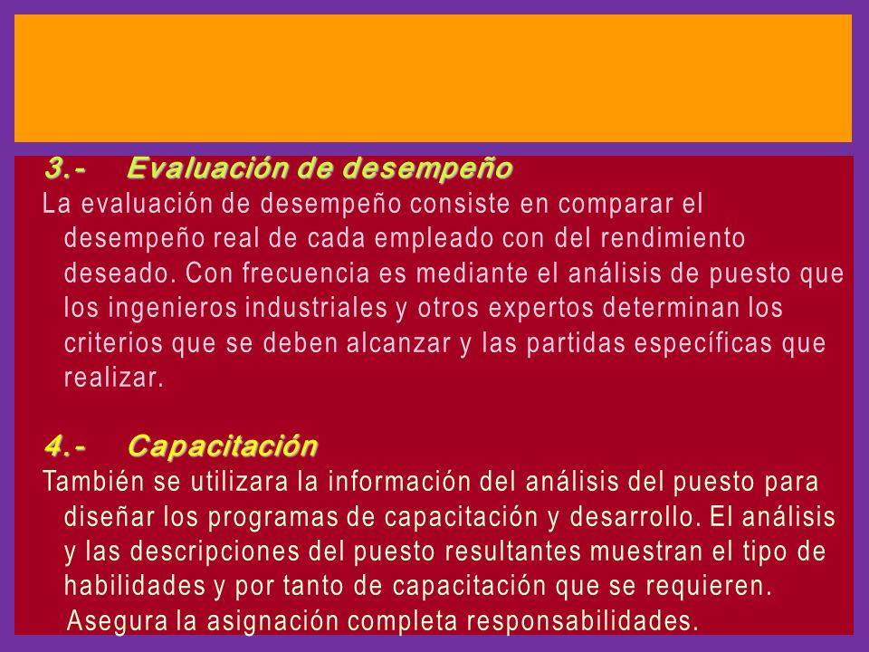 3.- Evaluación de desempeño La evaluación de desempeño consiste en comparar el desempeño real de cada empleado con del rendimiento deseado.
