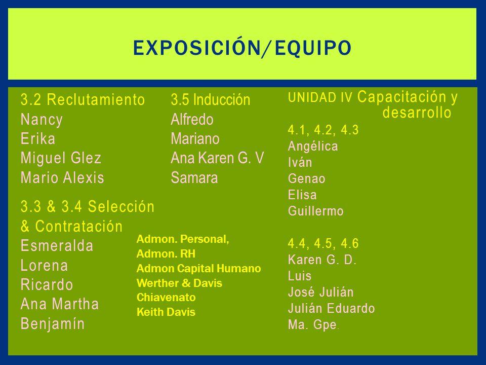 Exposición/equipo 3.2 Reclutamiento Nancy Erika Miguel Glez