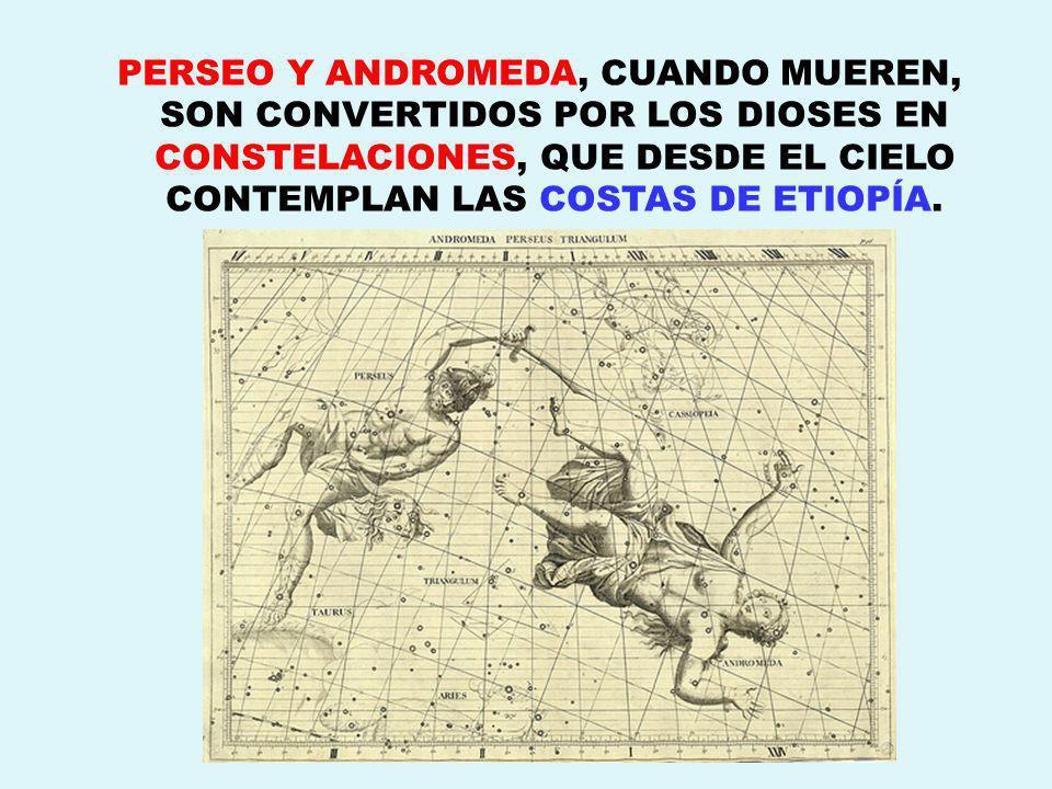 PERSEO Y ANDROMEDA, CUANDO MUEREN, SON CONVERTIDOS POR LOS DIOSES EN CONSTELACIONES, QUE DESDE EL CIELO CONTEMPLAN LAS COSTAS DE ETIOPÍA.