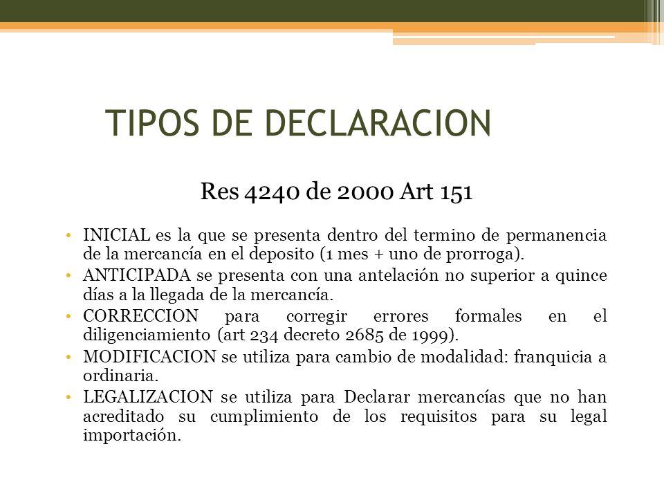 TIPOS DE DECLARACION Res 4240 de 2000 Art 151