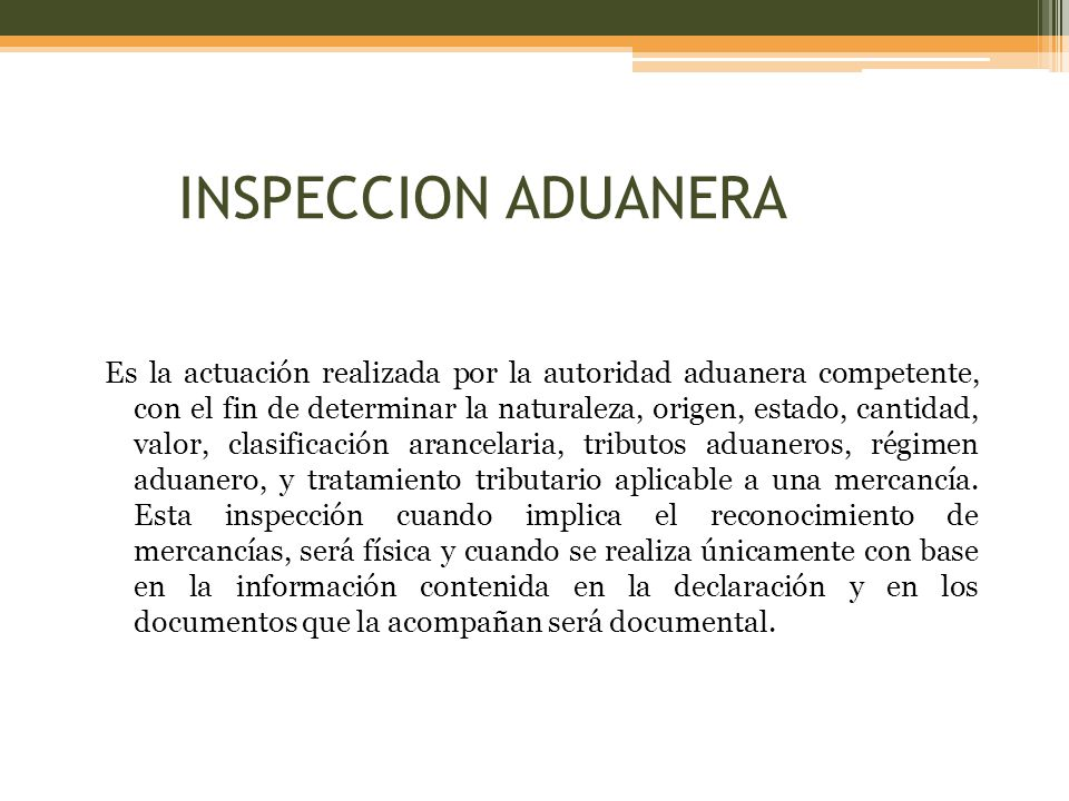 INSPECCION ADUANERA