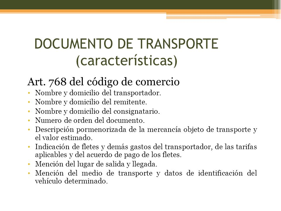 DOCUMENTO DE TRANSPORTE (características)
