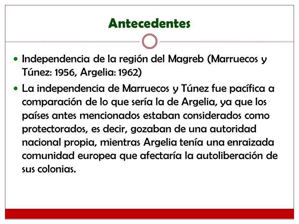 Antecedentes Independencia de la región del Magreb (Marruecos y Túnez: 1956, Argelia: 1962)