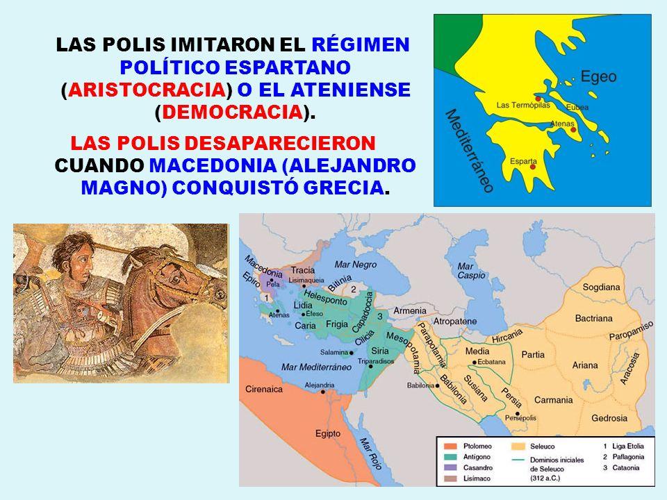 LAS POLIS IMITARON EL RÉGIMEN POLÍTICO ESPARTANO (ARISTOCRACIA) O EL ATENIENSE (DEMOCRACIA).