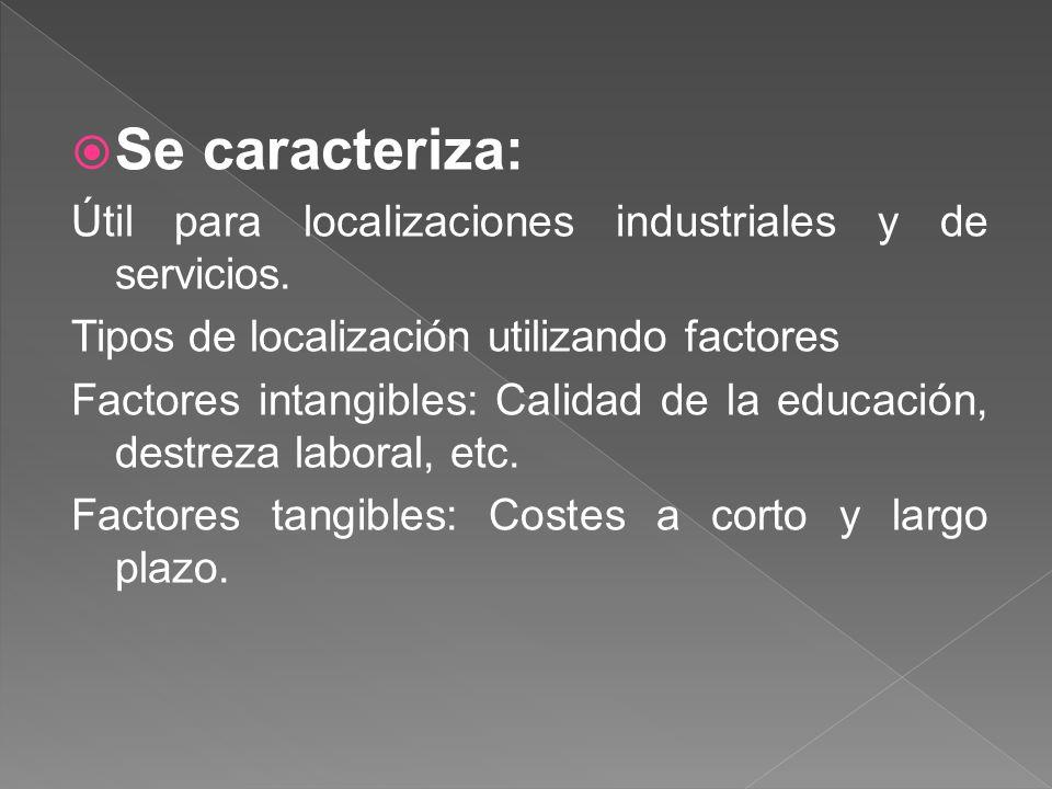 Se caracteriza: Útil para localizaciones industriales y de servicios.
