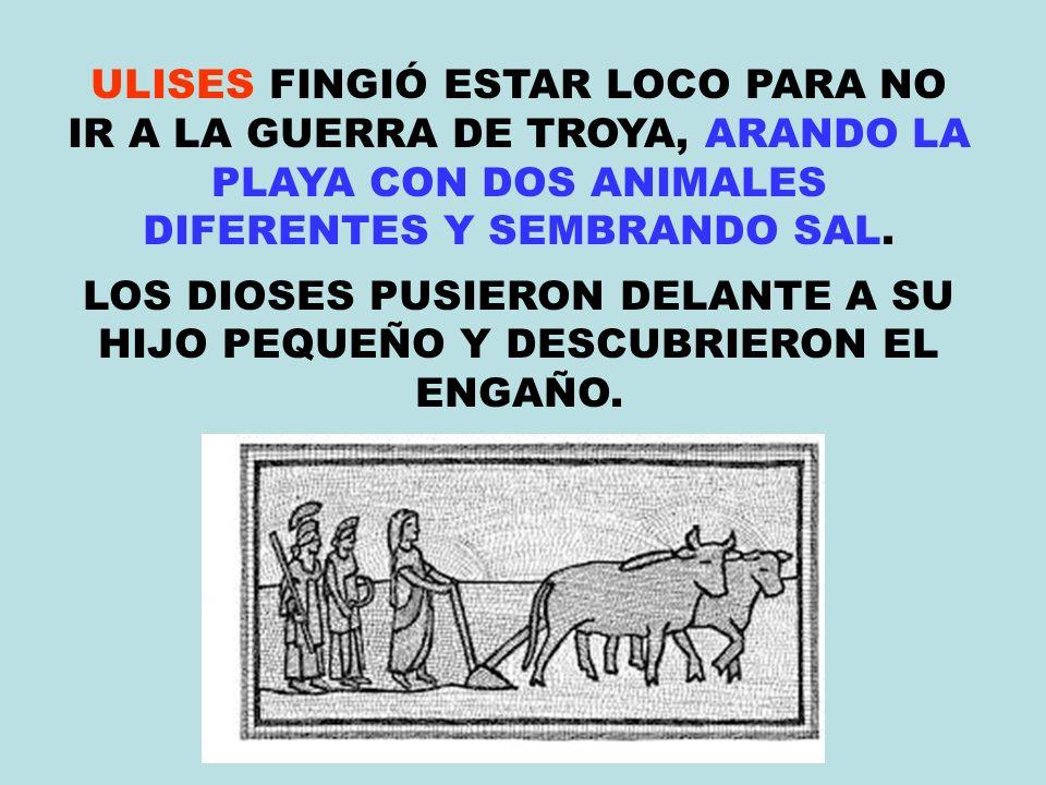 ULISES FINGIÓ ESTAR LOCO PARA NO IR A LA GUERRA DE TROYA, ARANDO LA PLAYA CON DOS ANIMALES DIFERENTES Y SEMBRANDO SAL.