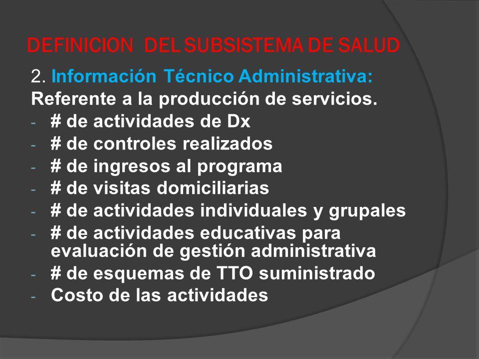DEFINICION DEL SUBSISTEMA DE SALUD