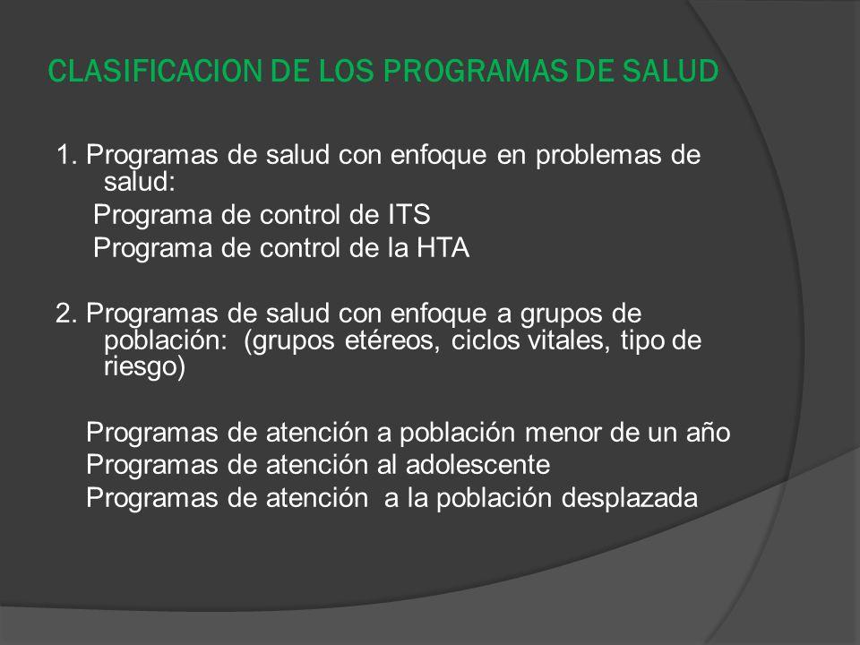 CLASIFICACION DE LOS PROGRAMAS DE SALUD