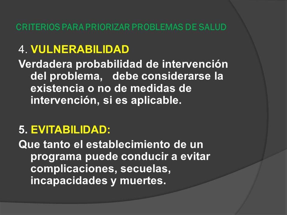CRITERIOS PARA PRIORIZAR PROBLEMAS DE SALUD