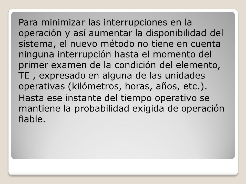 Para minimizar las interrupciones en la operación y así aumentar la disponibilidad del sistema, el nuevo método no tiene en cuenta ninguna interrupción hasta el momento del primer examen de la condición del elemento, TE , expresado en alguna de las unidades operativas (kilómetros, horas, años, etc.).