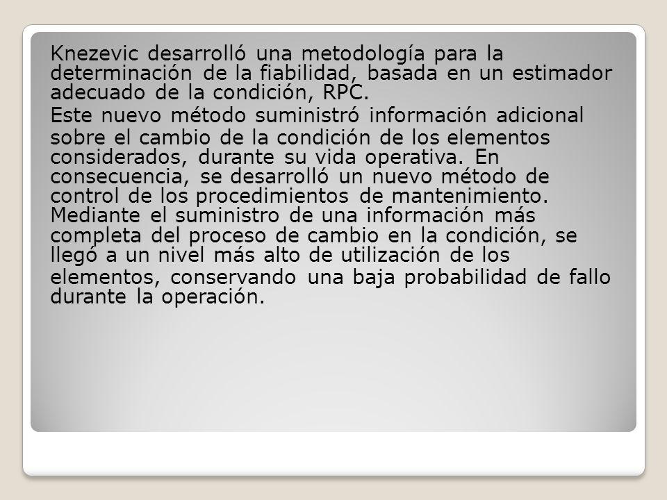 Knezevic desarrolló una metodología para la determinación de la fiabilidad, basada en un estimador adecuado de la condición, RPC.