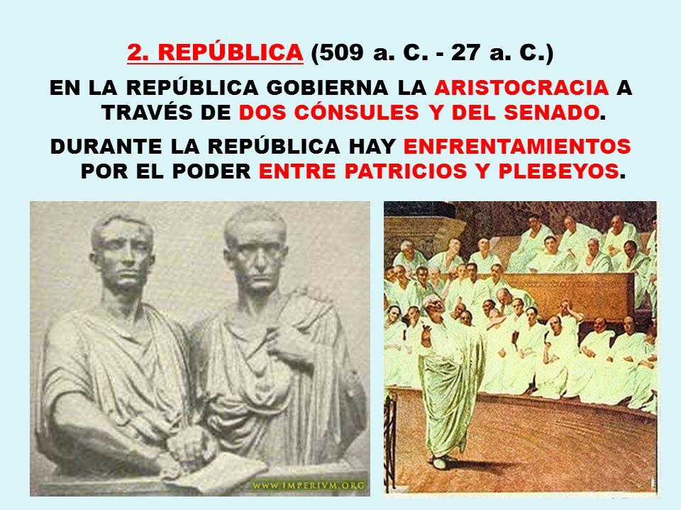 2. REPÚBLICA (509 a. C. - 27 a. C.)EN LA REPÚBLICA GOBIERNA LA ARISTOCRACIA A TRAVÉS DE DOS CÓNSULES Y DEL SENADO.