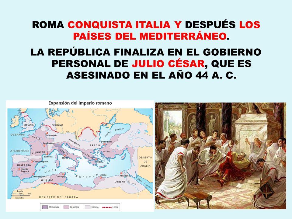 ROMA CONQUISTA ITALIA Y DESPUÉS LOS PAÍSES DEL MEDITERRÁNEO.