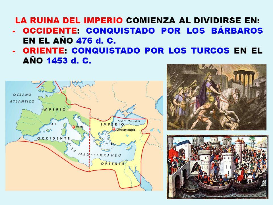LA RUINA DEL IMPERIO COMIENZA AL DIVIDIRSE EN: