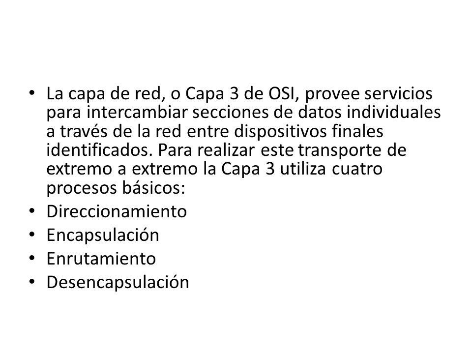 La capa de red, o Capa 3 de OSI, provee servicios para intercambiar secciones de datos individuales a través de la red entre dispositivos finales identificados. Para realizar este transporte de extremo a extremo la Capa 3 utiliza cuatro procesos básicos: