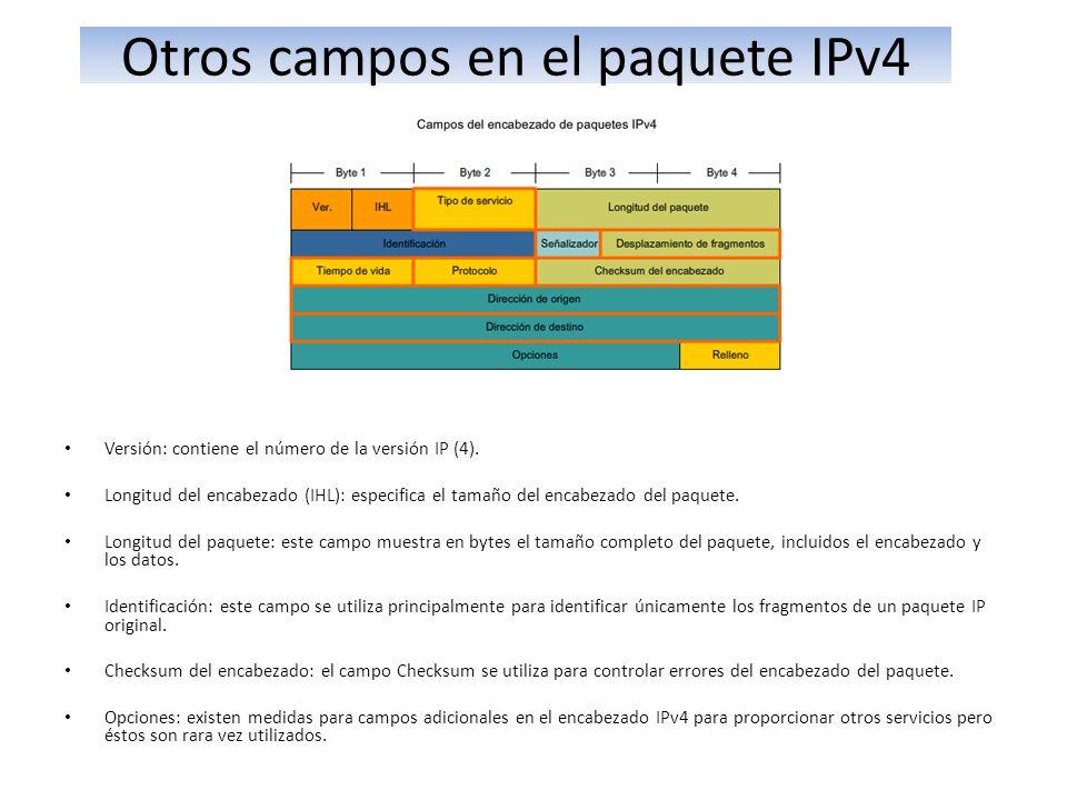 Otros campos en el paquete IPv4