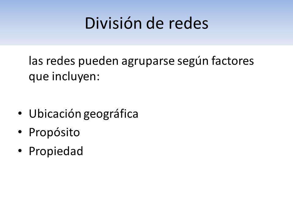 División de redes las redes pueden agruparse según factores que incluyen: Ubicación geográfica. Propósito.