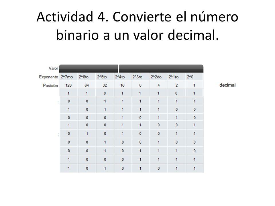 Actividad 4. Convierte el número binario a un valor decimal.