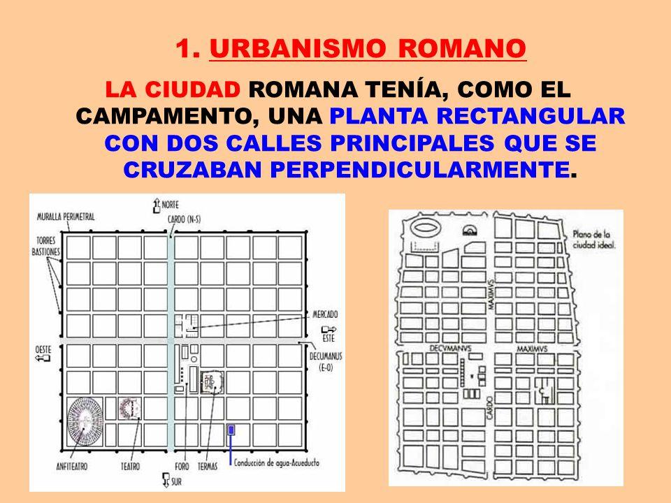 1. URBANISMO ROMANOLA CIUDAD ROMANA TENÍA, COMO EL CAMPAMENTO, UNA PLANTA RECTANGULAR CON DOS CALLES PRINCIPALES QUE SE CRUZABAN PERPENDICULARMENTE.