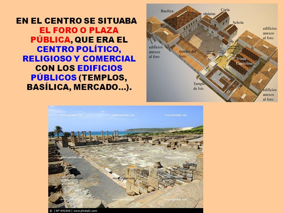 EN EL CENTRO SE SITUABA EL FORO O PLAZA PÚBLICA, QUE ERA EL CENTRO POLÍTICO, RELIGIOSO Y COMERCIAL CON LOS EDIFICIOS PÚBLICOS (TEMPLOS, BASÍLICA, MERCADO…).