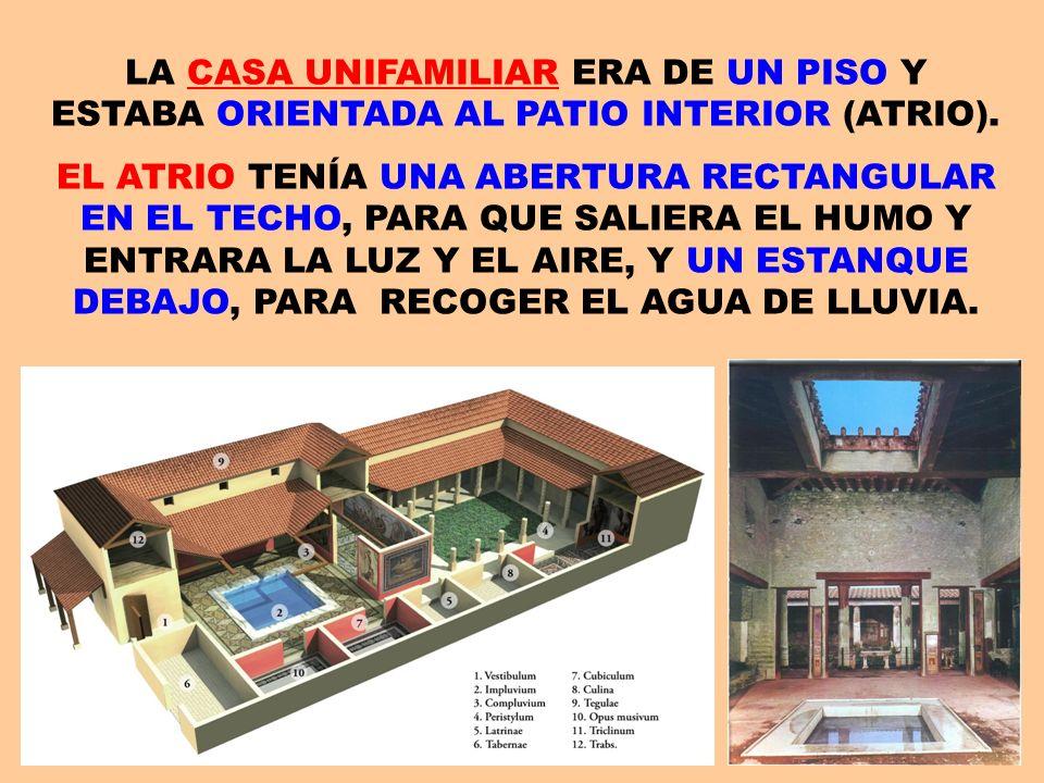 LA CASA UNIFAMILIAR ERA DE UN PISO Y ESTABA ORIENTADA AL PATIO INTERIOR (ATRIO).