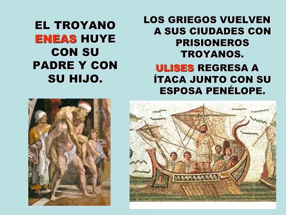 EL TROYANO ENEAS HUYE CON SU PADRE Y CON SU HIJO.