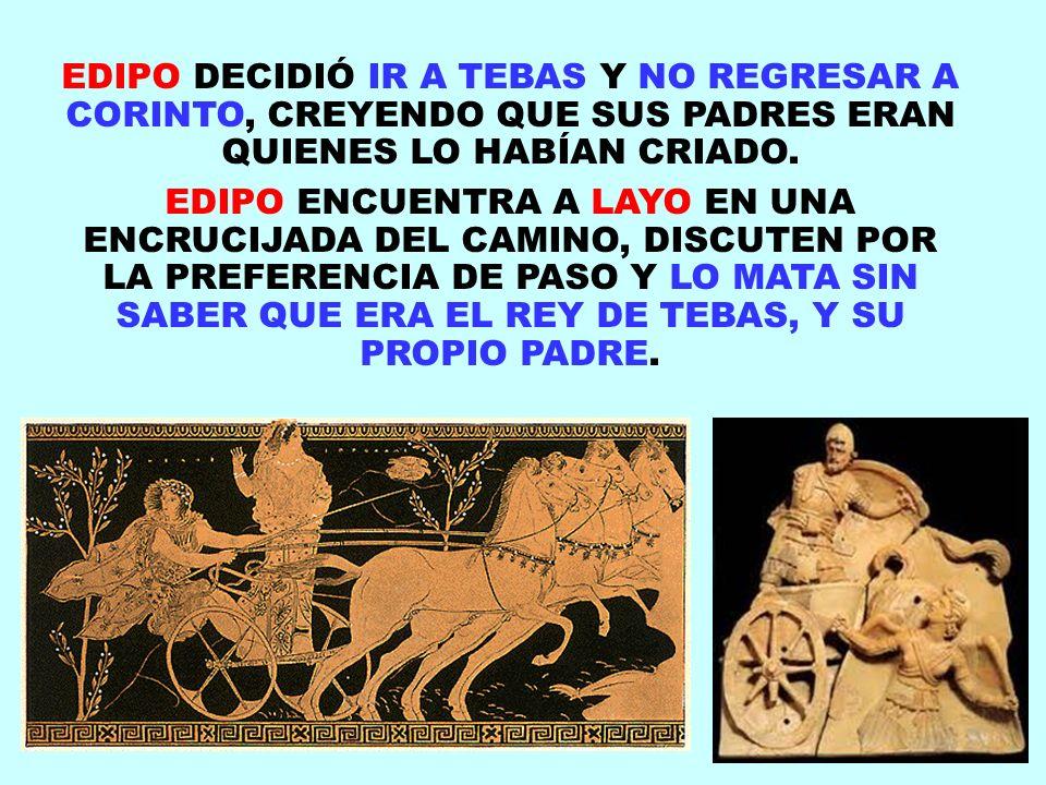 EDIPO DECIDIÓ IR A TEBAS Y NO REGRESAR A CORINTO, CREYENDO QUE SUS PADRES ERAN QUIENES LO HABÍAN CRIADO.