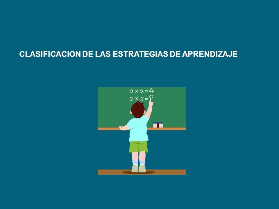 CLASIFICACION DE LAS ESTRATEGIAS DE APRENDIZAJE