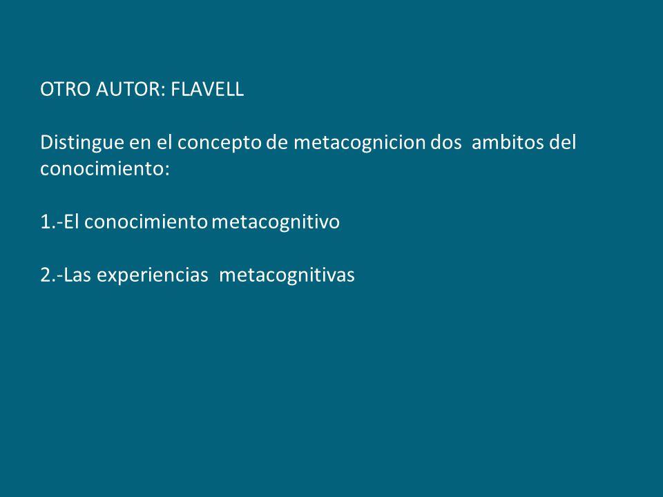 OTRO AUTOR: FLAVELL Distingue en el concepto de metacognicion dos ambitos del conocimiento: 1.-El conocimiento metacognitivo 2.-Las experiencias metacognitivas