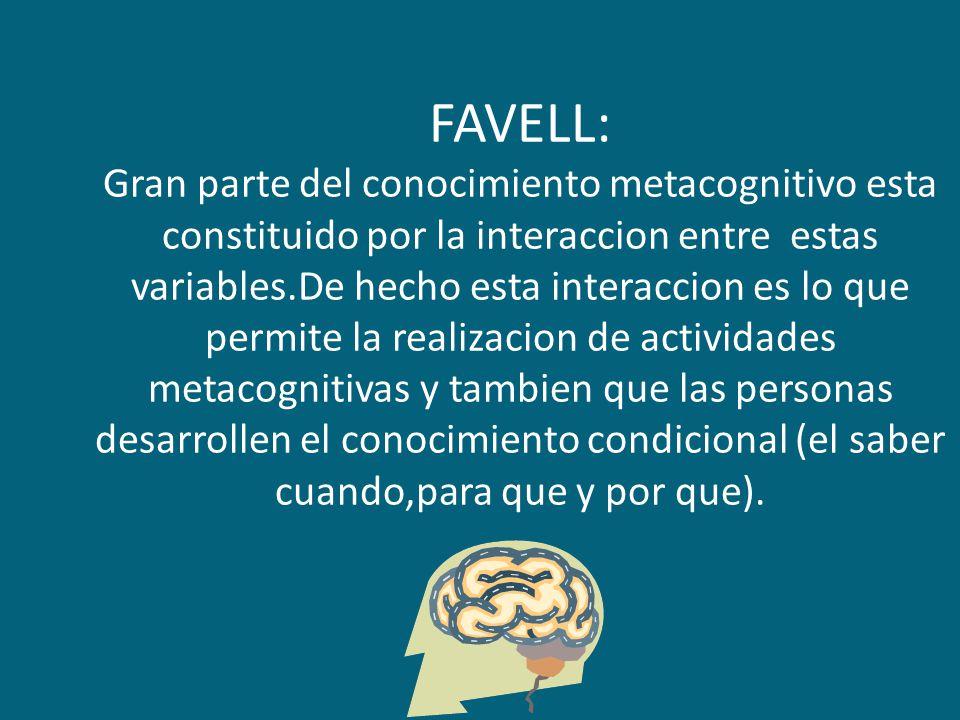FAVELL: Gran parte del conocimiento metacognitivo esta constituido por la interaccion entre estas variables.De hecho esta interaccion es lo que permite la realizacion de actividades metacognitivas y tambien que las personas desarrollen el conocimiento condicional (el saber cuando,para que y por que).