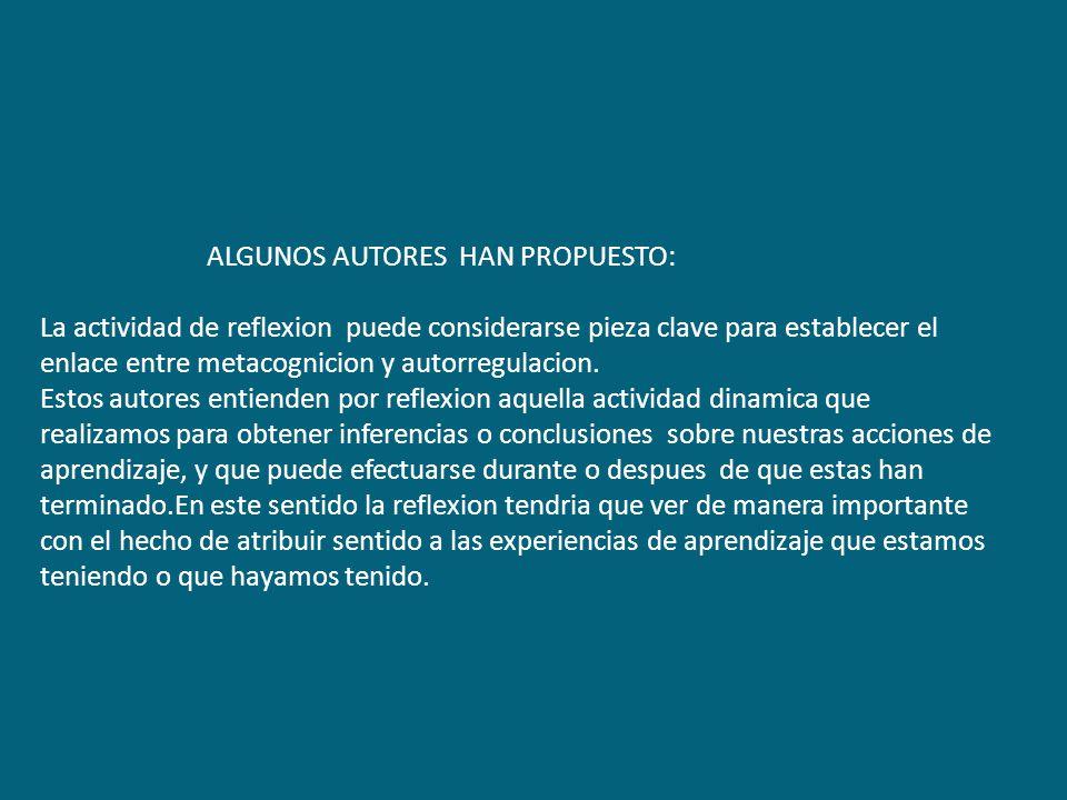 ALGUNOS AUTORES HAN PROPUESTO: La actividad de reflexion puede considerarse pieza clave para establecer el enlace entre metacognicion y autorregulacion.