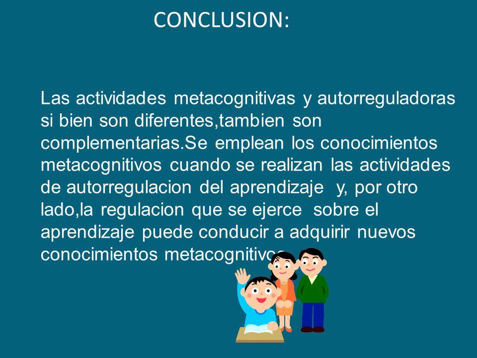 CONCLUSION: Las actividades metacognitivas y autorreguladoras si bien son diferentes,tambien son complementarias.Se emplean los conocimientos metacognitivos cuando se realizan las actividades de autorregulacion del aprendizaje y, por otro lado,la regulacion que se ejerce sobre el aprendizaje puede conducir a adquirir nuevos conocimientos metacognitivos.